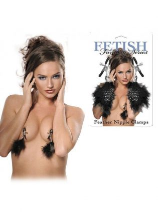PEZONES BDSM PINZAS PARA PEZONES CON PLUMAS GP FEATHERED NIPPLE CLAMPS NEGRO