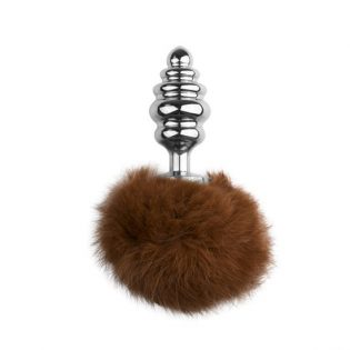 PLUG ANAL BUNNY  TAIL PLUG NO. 2 - SILVER/BROWN