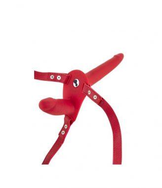 ARNESES PAREJA ARNES STRAP-ON DOBLE ROJO SILICONA VIBRADOR USB 15